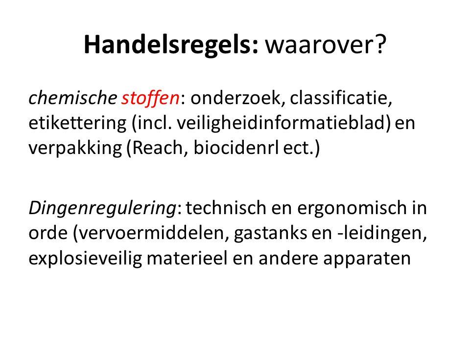 Handelsregels: waarover. chemische stoffen: onderzoek, classificatie, etikettering (incl.