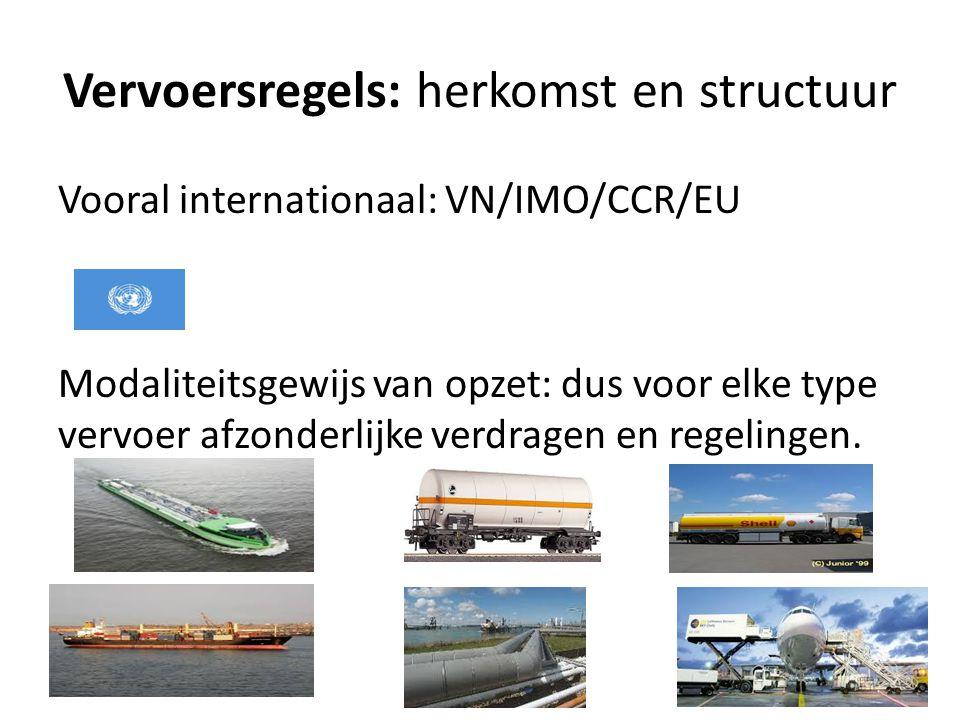 Vervoersregels: herkomst en structuur Vooral internationaal: VN/IMO/CCR/EU Modaliteitsgewijs van opzet: dus voor elke type vervoer afzonderlijke verdragen en regelingen.