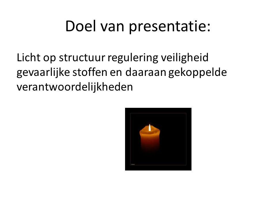 Doel van presentatie: Licht op structuur regulering veiligheid gevaarlijke stoffen en daaraan gekoppelde verantwoordelijkheden