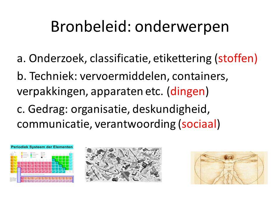 Bronbeleid: onderwerpen a. Onderzoek, classificatie, etikettering (stoffen) b.