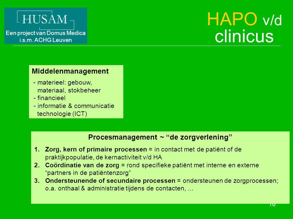 HUSAM Een project van Domus Medica i.s.m. ACHG Leuven 10 Middelenmanagement - materieel: gebouw, materiaal, stokbeheer - financieel - informatie & com