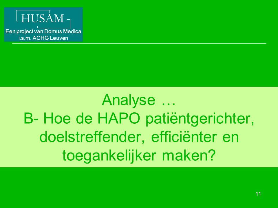 HUSAM Een project van Domus Medica i.s.m. ACHG Leuven 11 Analyse … B- Hoe de HAPO patiëntgerichter, doelstreffender, efficiënter en toegankelijker mak