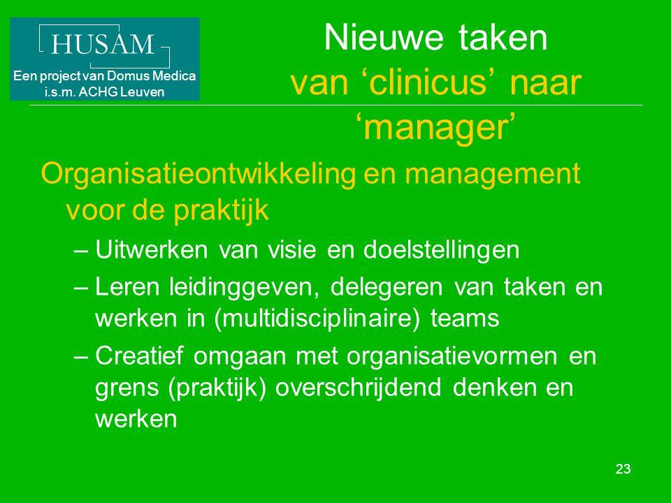 HUSAM Een project van Domus Medica i.s.m. ACHG Leuven 23 Nieuwe taken van 'clinicus' naar 'manager' Organisatieontwikkeling en management voor de prak