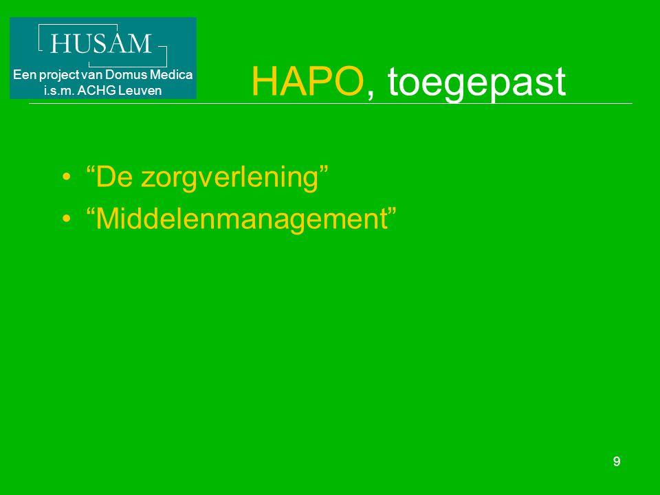 """HUSAM Een project van Domus Medica i.s.m. ACHG Leuven 9 HAPO, toegepast """"De zorgverlening"""" """"Middelenmanagement"""""""