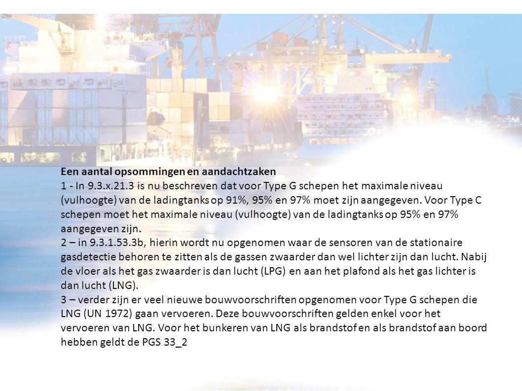 Een aantal opsommingen en aandachtzaken 1 - In 9.3.x.21.3 is nu beschreven dat voor Type G schepen het maximale niveau (vulhoogte) van de ladingtanks