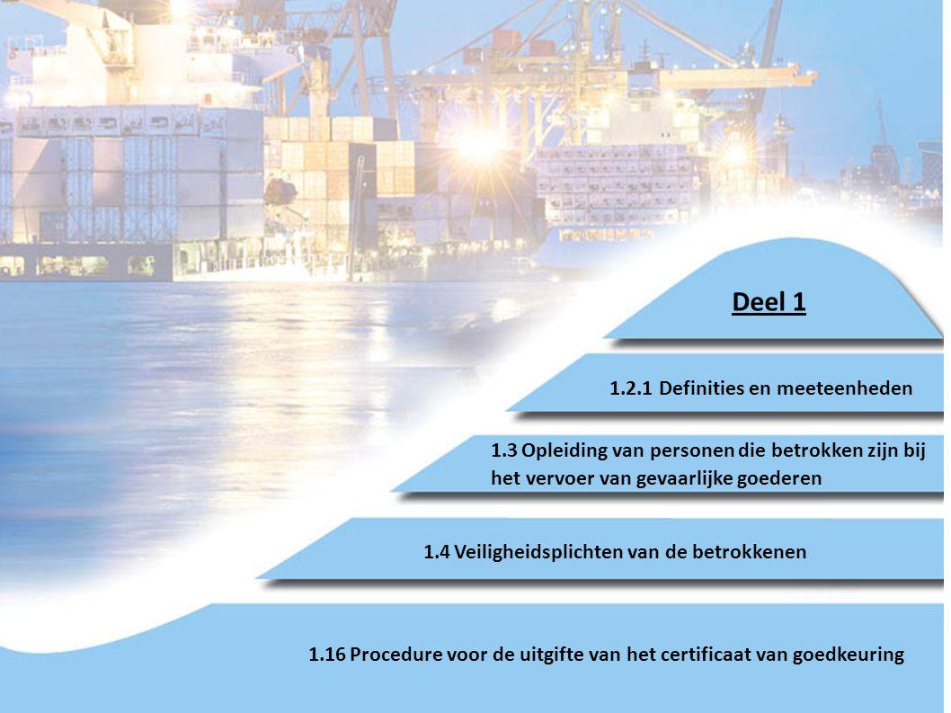 Deel 1 1.2.1 Definities en meeteenheden 1.3 Opleiding van personen die betrokken zijn bij het vervoer van gevaarlijke goederen 1.4 Veiligheidsplichten