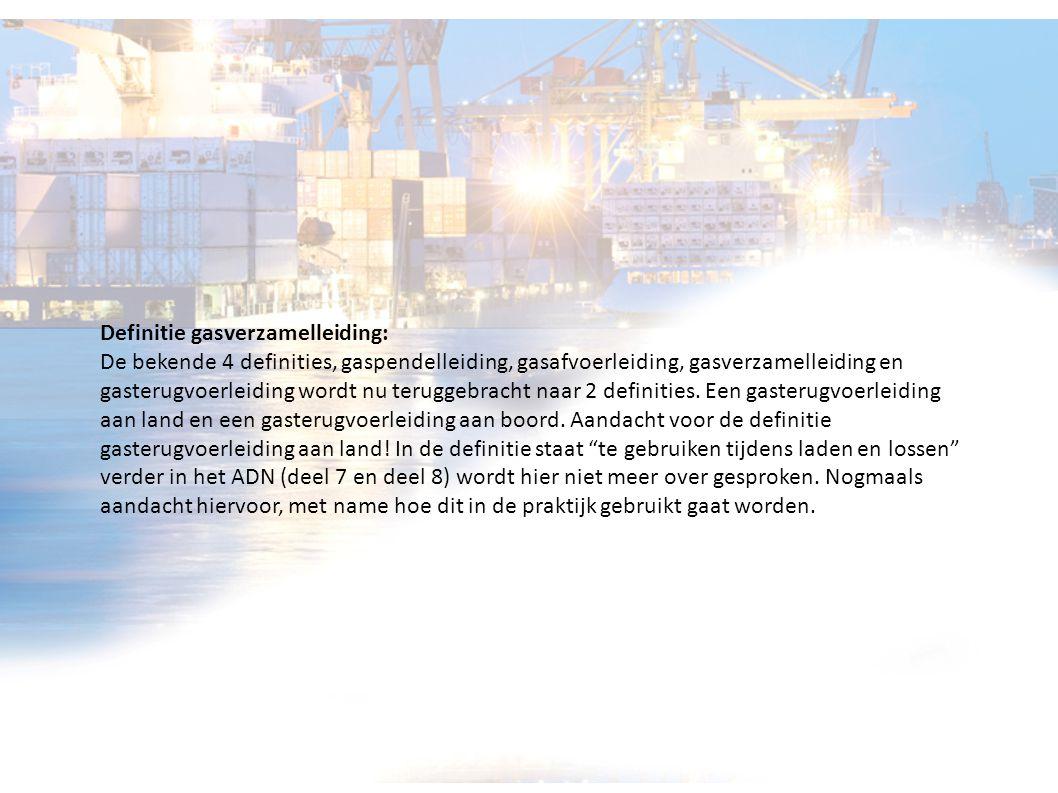 Definitie gasverzamelleiding: De bekende 4 definities, gaspendelleiding, gasafvoerleiding, gasverzamelleiding en gasterugvoerleiding wordt nu teruggeb