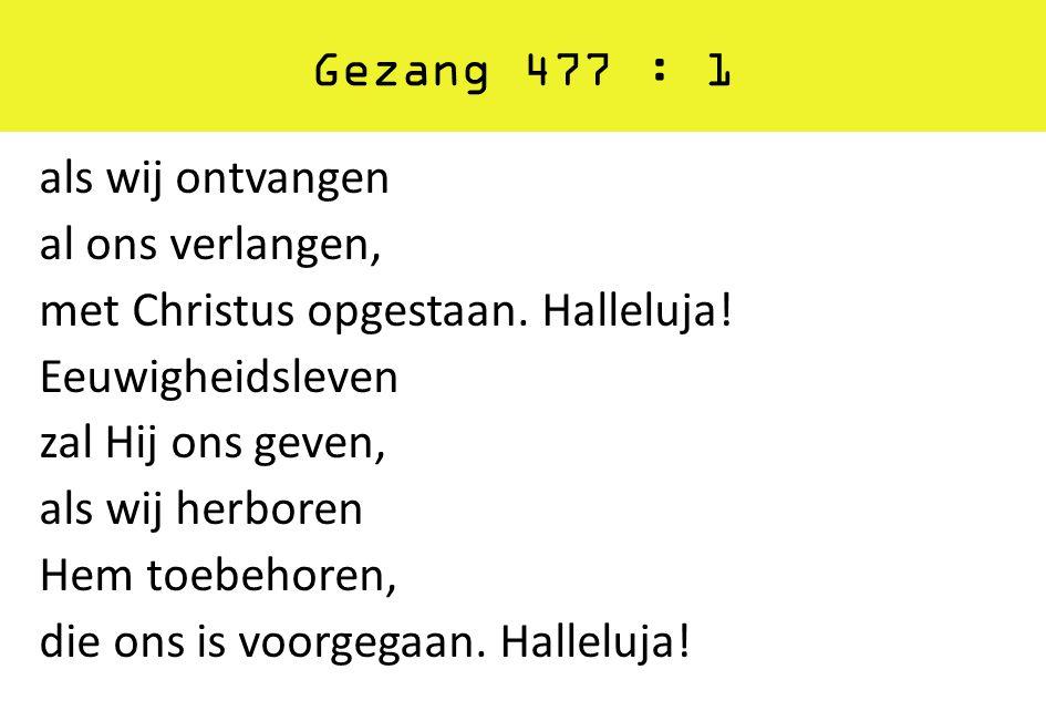 Gezang 477 : 1 als wij ontvangen al ons verlangen, met Christus opgestaan. Halleluja! Eeuwigheidsleven zal Hij ons geven, als wij herboren Hem toebeho