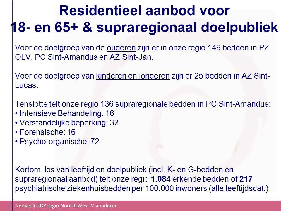 Netwerk GGZ regio Noord-West-Vlaanderen Residentieel aanbod voor 18- en 65+ & supraregionaal doelpubliek Voor de doelgroep van de ouderen zijn er in onze regio 149 bedden in PZ OLV, PC Sint-Amandus en AZ Sint-Jan.