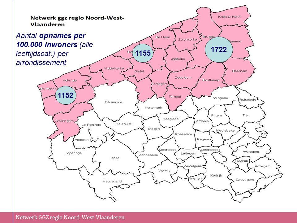 Netwerk GGZ regio Noord-West-Vlaanderen 134 1155 1152 Aantal opnames per 100.000 inwoners (alle leeftijdscat.) per arrondissement 1722