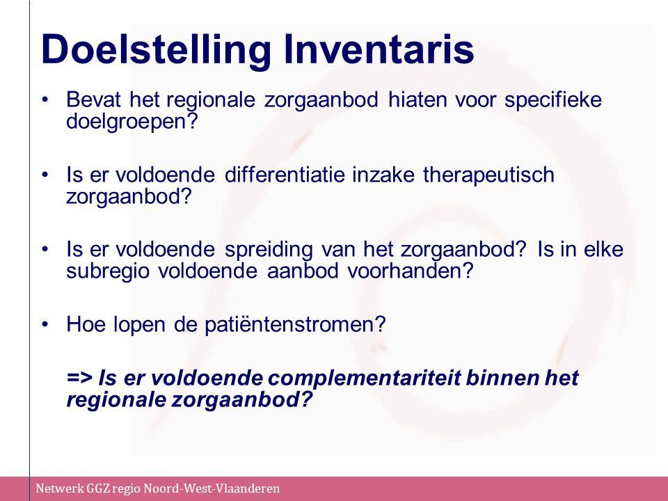 Netwerk GGZ regio Noord-West-Vlaanderen Doelstelling Inventaris Bevat het regionale zorgaanbod hiaten voor specifieke doelgroepen.