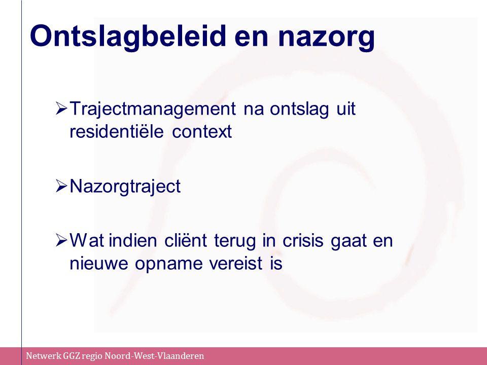 Netwerk GGZ regio Noord-West-Vlaanderen Ontslagbeleid en nazorg  Trajectmanagement na ontslag uit residentiële context  Nazorgtraject  Wat indien cliënt terug in crisis gaat en nieuwe opname vereist is