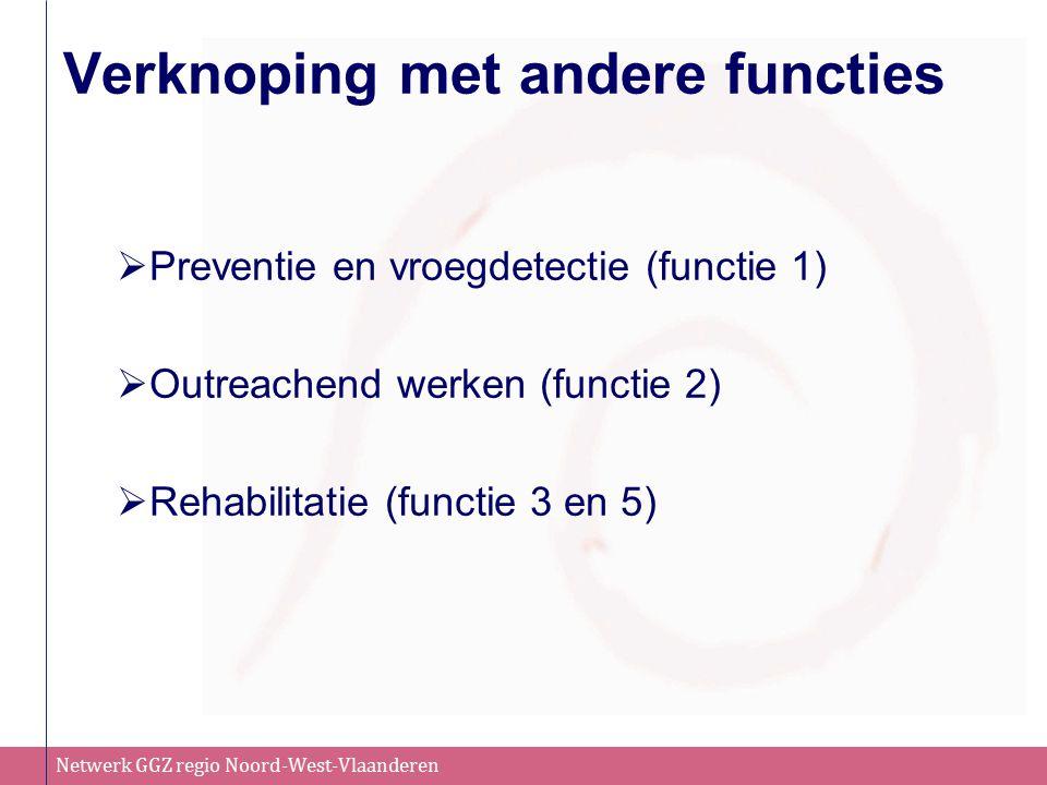 Netwerk GGZ regio Noord-West-Vlaanderen Verknoping met andere functies  Preventie en vroegdetectie (functie 1)  Outreachend werken (functie 2)  Reh