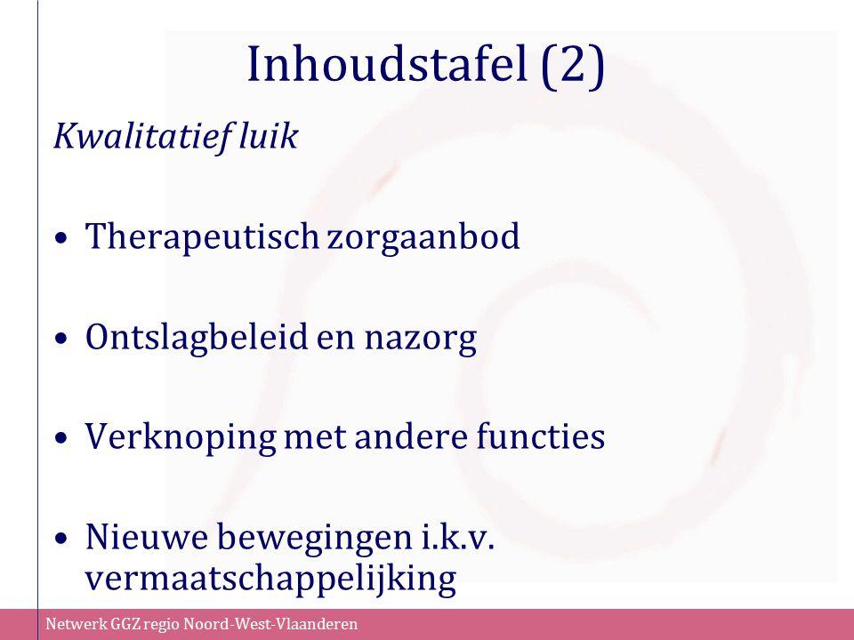 Netwerk GGZ regio Noord-West-Vlaanderen Inhoudstafel (2) Kwalitatief luik Therapeutisch zorgaanbod Ontslagbeleid en nazorg Verknoping met andere functies Nieuwe bewegingen i.k.v.