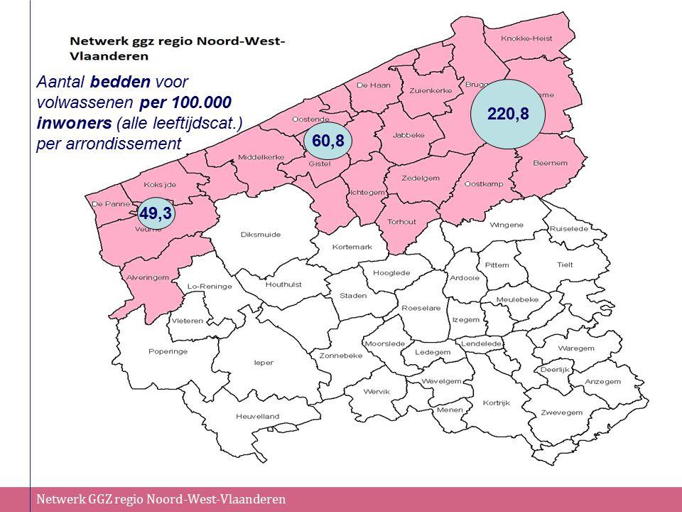 Netwerk GGZ regio Noord-West-Vlaanderen 220,8 60,8 49,3 Aantal bedden voor volwassenen per 100.000 inwoners (alle leeftijdscat.) per arrondissement