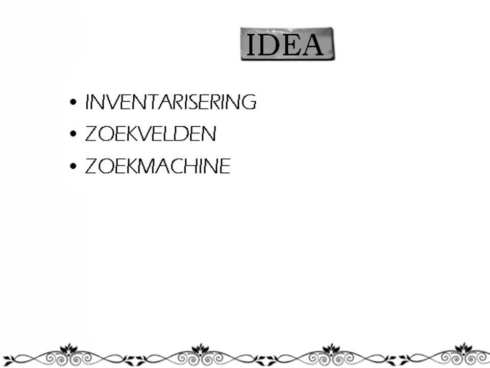 IDEA INVENTARISERING ZOEKVELDEN ZOEKMACHINE