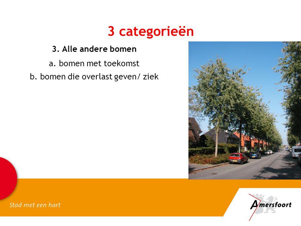 3. Alle andere bomen a. bomen met toekomst b. bomen die overlast geven/ ziek 3 categorieën
