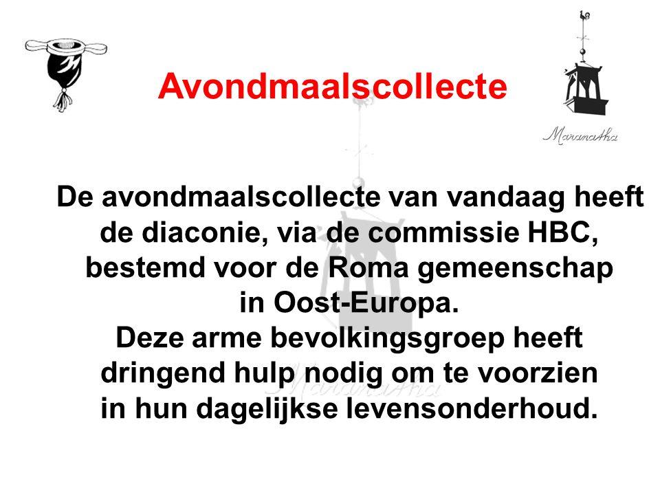 De avondmaalscollecte van vandaag heeft de diaconie, via de commissie HBC, bestemd voor de Roma gemeenschap in Oost-Europa.