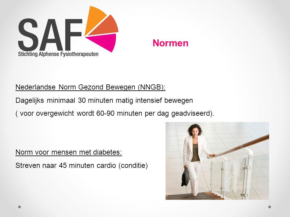 Normen Nederlandse Norm Gezond Bewegen (NNGB): Dagelijks minimaal 30 minuten matig intensief bewegen ( voor overgewicht wordt 60-90 minuten per dag geadviseerd).