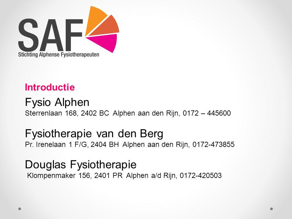 Fysio Alphen Sterrenlaan 168, 2402 BC Alphen aan den Rijn, 0172 – 445600 Fysiotherapie van den Berg Pr.