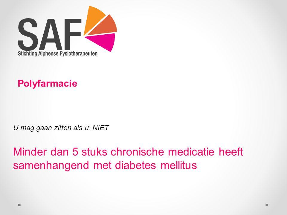 Polyfarmacie U mag gaan zitten als u: NIET Minder dan 5 stuks chronische medicatie heeft samenhangend met diabetes mellitus