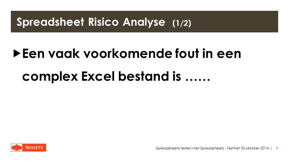 | Spreadsheet Risico Analyse (1/2)  Een vaak voorkomende fout in een complex Excel bestand is …… 4Spreadsheets testen met Spreadsheets - TestNet 30 oktober 2014