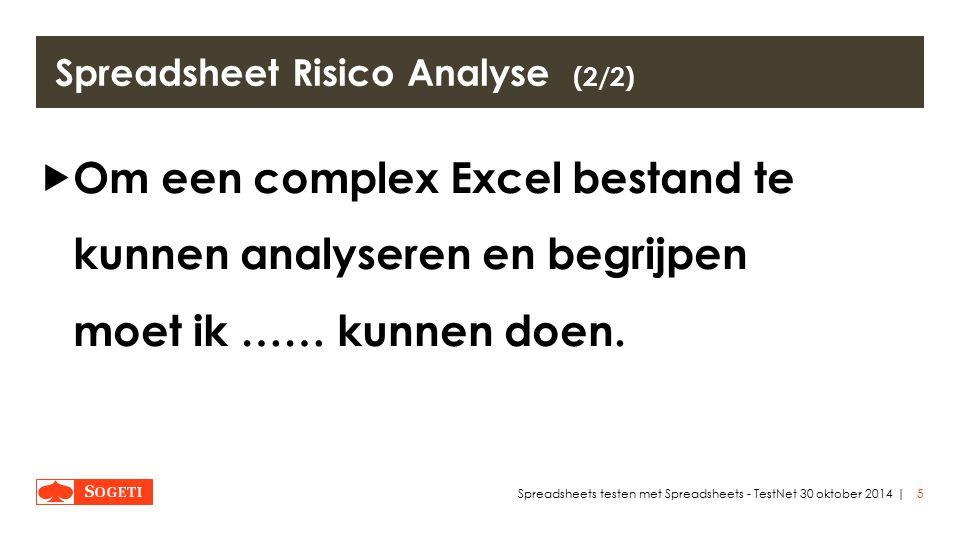 | Spreadsheet Risico Analyse (2/2)  Om een complex Excel bestand te kunnen analyseren en begrijpen moet ik …… kunnen doen.