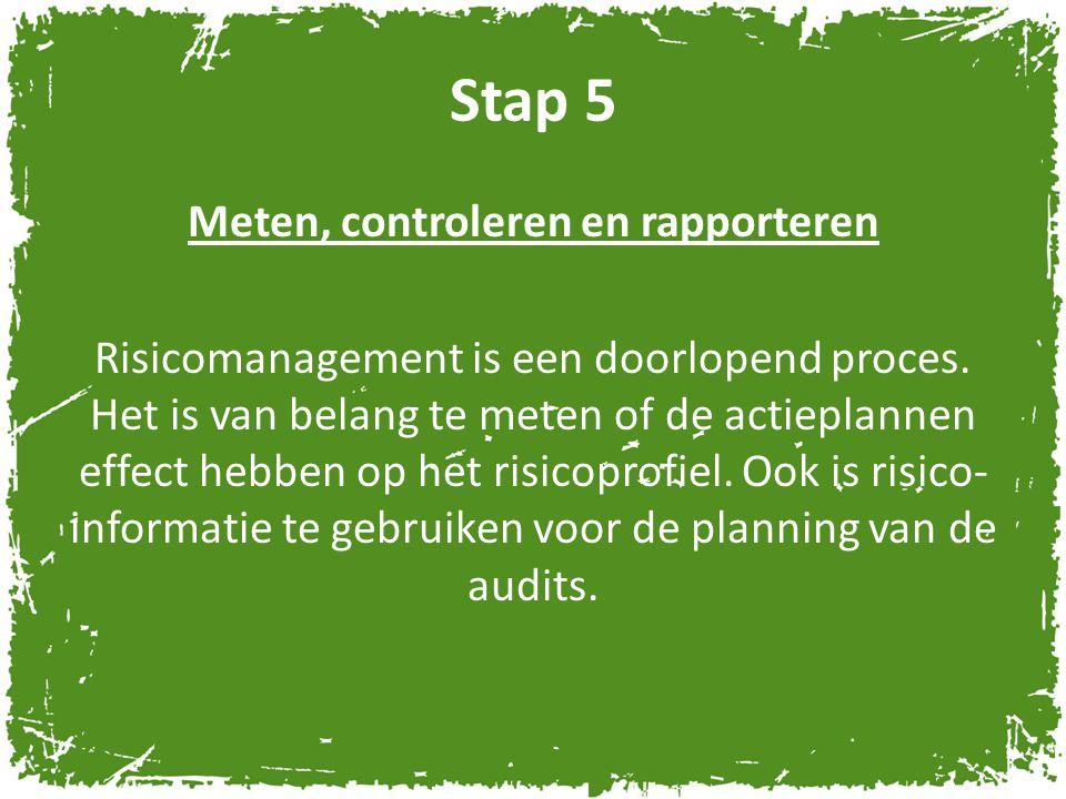 Stap 5 Meten, controleren en rapporteren Risicomanagement is een doorlopend proces. Het is van belang te meten of de actieplannen effect hebben op het