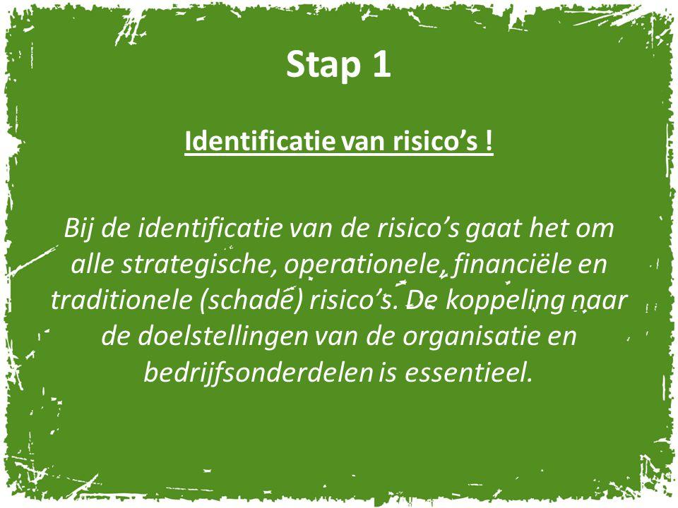 Stap 1 Identificatie van risico's ! Bij de identificatie van de risico's gaat het om alle strategische, operationele, financiële en traditionele (scha