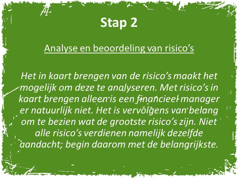 Stap 2 Analyse en beoordeling van risico's Het in kaart brengen van de risico's maakt het mogelijk om deze te analyseren. Met risico's in kaart brenge