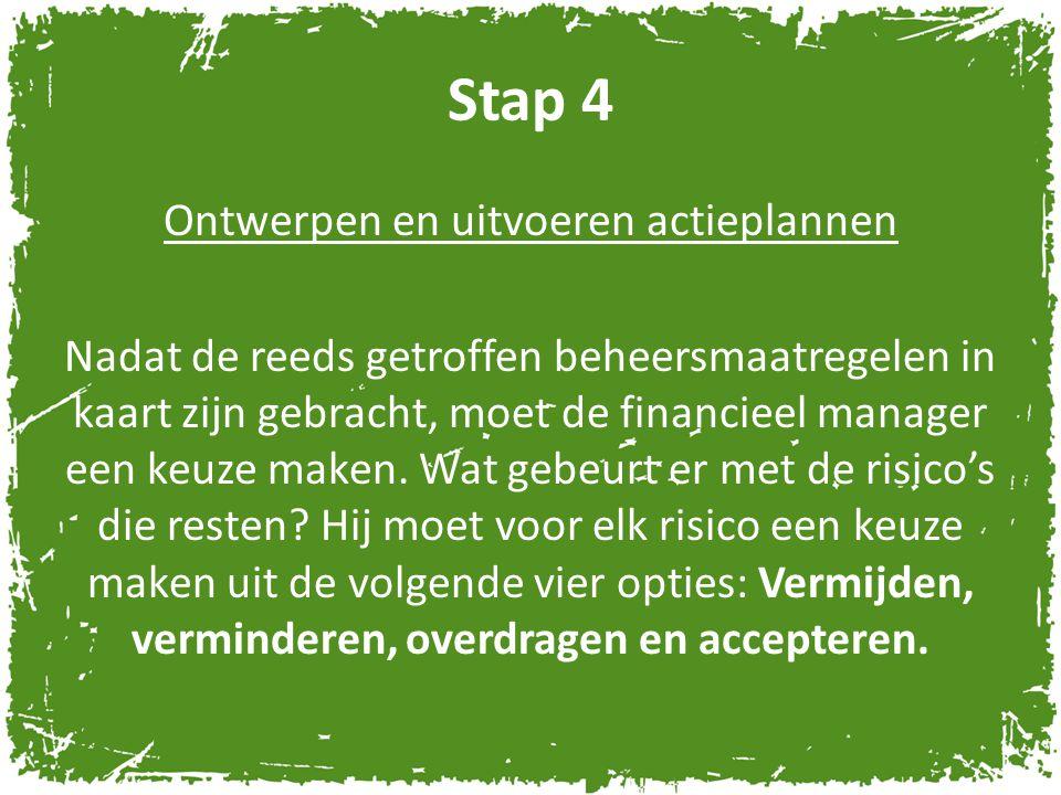 Stap 4 Ontwerpen en uitvoeren actieplannen Nadat de reeds getroffen beheersmaatregelen in kaart zijn gebracht, moet de financieel manager een keuze ma