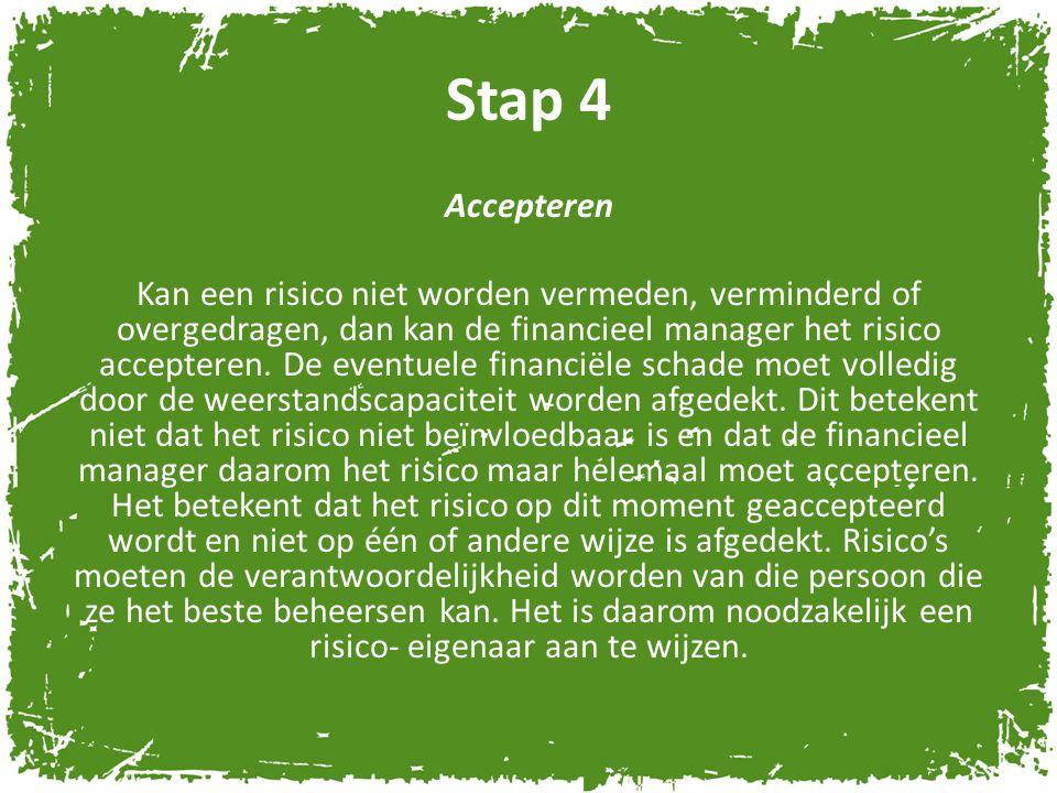 Stap 4 Accepteren Kan een risico niet worden vermeden, verminderd of overgedragen, dan kan de financieel manager het risico accepteren. De eventuele f