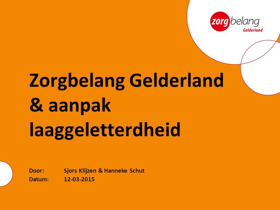 Datum:12-03-2015 Door: Sjors Klijzen & Hanneke Schut Zorgbelang Gelderland & aanpak laaggeletterdheid