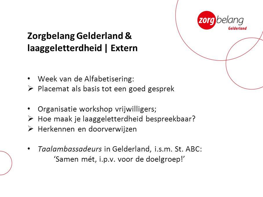Zorgbelang Gelderland & laaggeletterdheid | Extern Week van de Alfabetisering:  Placemat als basis tot een goed gesprek Organisatie workshop vrijwill