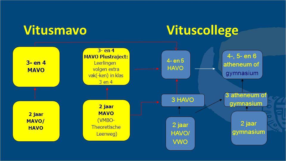 Vitusmavo Vituscollege 3- en 4 MAVO 2 jaar MAVO (VMBO- Theoretische Leerweg) 2 jaar MAVO/ HAVO 3- en 4 MAVO Plustraject: Leerlingen volgen extra vak(-ken) in klas 3 en 4 4-, 5- en 6 atheneum of gymnasium 4- en 5 HAVO 2 jaar HAVO/ VWO 2 jaar gymnasium 3 atheneum of gymnasium 3 HAVO