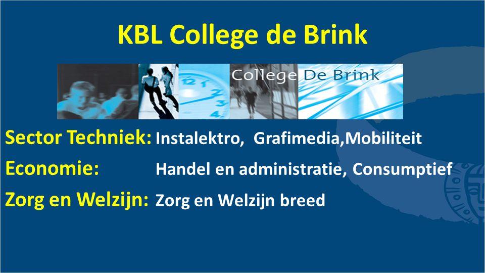 KBL College de Brink Sector Techniek: Instalektro, Grafimedia,Mobiliteit Economie: Handel en administratie, Consumptief Zorg en Welzijn: Zorg en Welzijn breed
