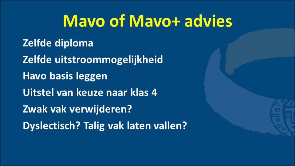 Mavo of Mavo+ advies Zelfde diploma Zelfde uitstroommogelijkheid Havo basis leggen Uitstel van keuze naar klas 4 Zwak vak verwijderen.