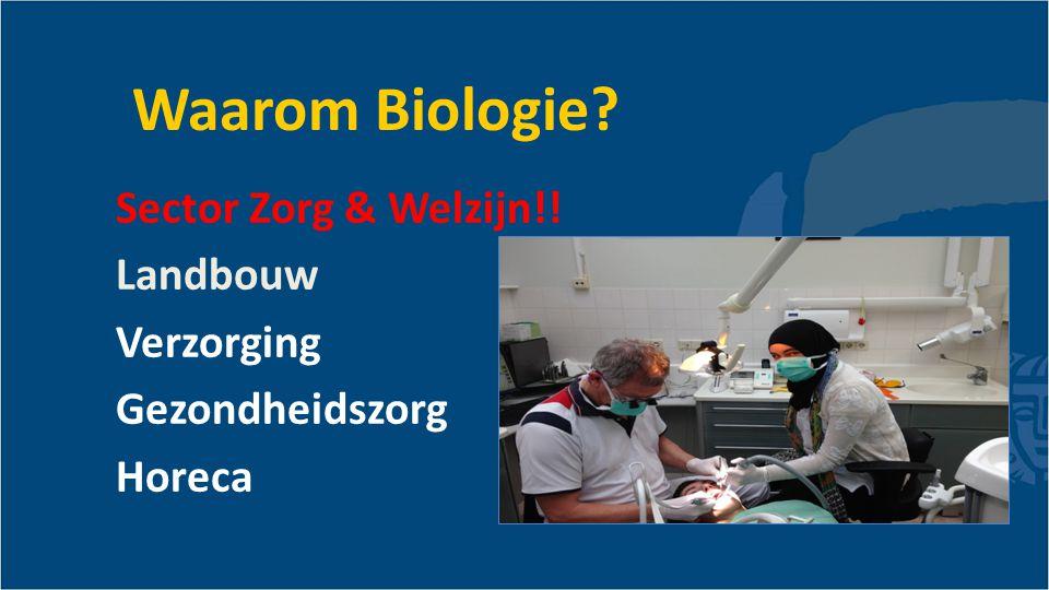 Waarom Biologie Sector Zorg & Welzijn!! Landbouw Verzorging Gezondheidszorg Horeca