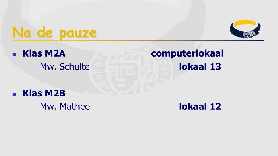 Na de pauze Klas M2Acomputerlokaal Mw. Schultelokaal 13 Klas M2B Mw. Matheelokaal 12