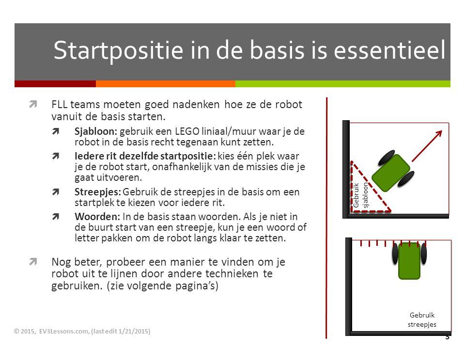 Startpositie in de basis is essentieel  FLL teams moeten goed nadenken hoe ze de robot vanuit de basis starten.  Sjabloon: gebruik een LEGO liniaal/