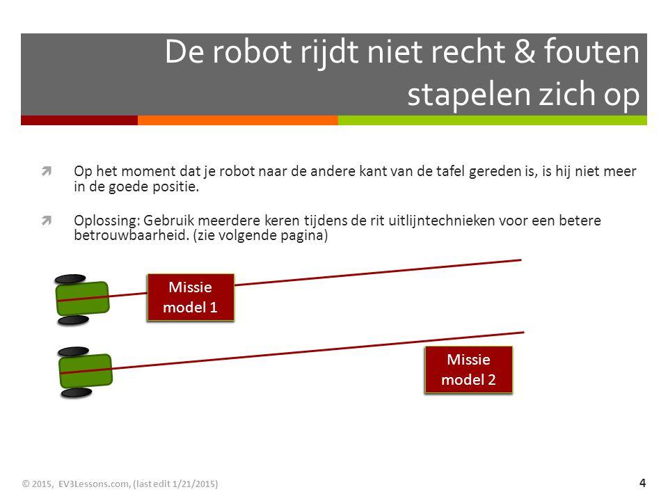 De robot rijdt niet recht & fouten stapelen zich op  Op het moment dat je robot naar de andere kant van de tafel gereden is, is hij niet meer in de g