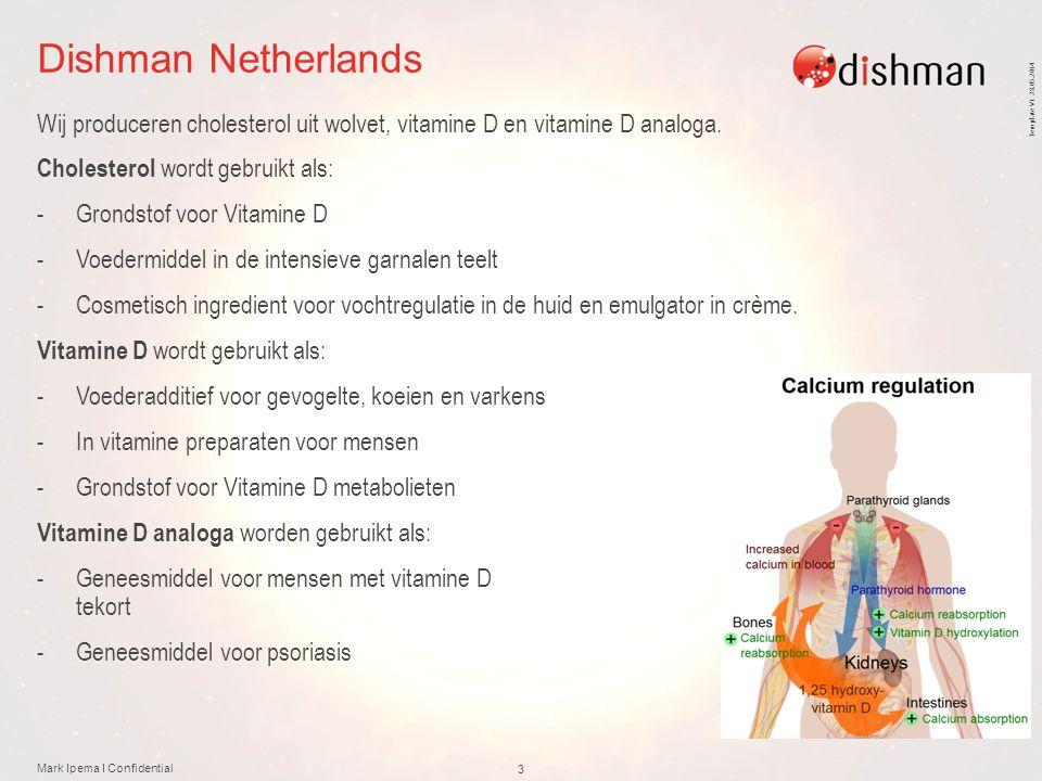 Template V1 28.05.2014 Dishman Netherlands Wij produceren cholesterol uit wolvet, vitamine D en vitamine D analoga. Cholesterol wordt gebruikt als: -G