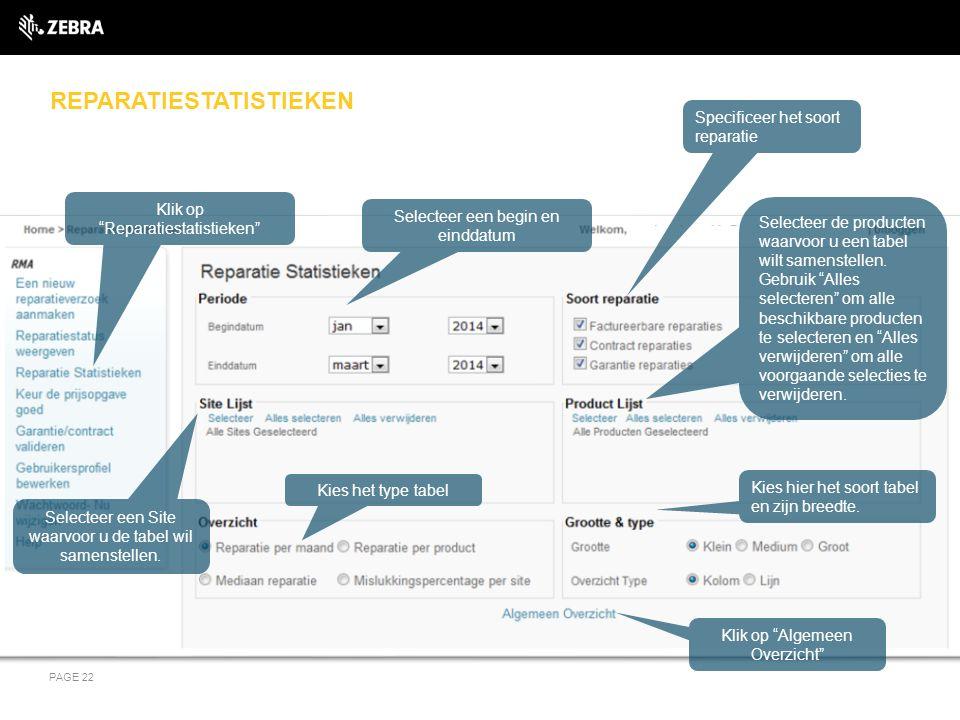 REPARATIESTATISTIEKEN PAGE 22 Klik op Reparatiestatistieken Selecteer een begin en einddatum Selecteer een Site waarvoor u de tabel wil samenstellen.