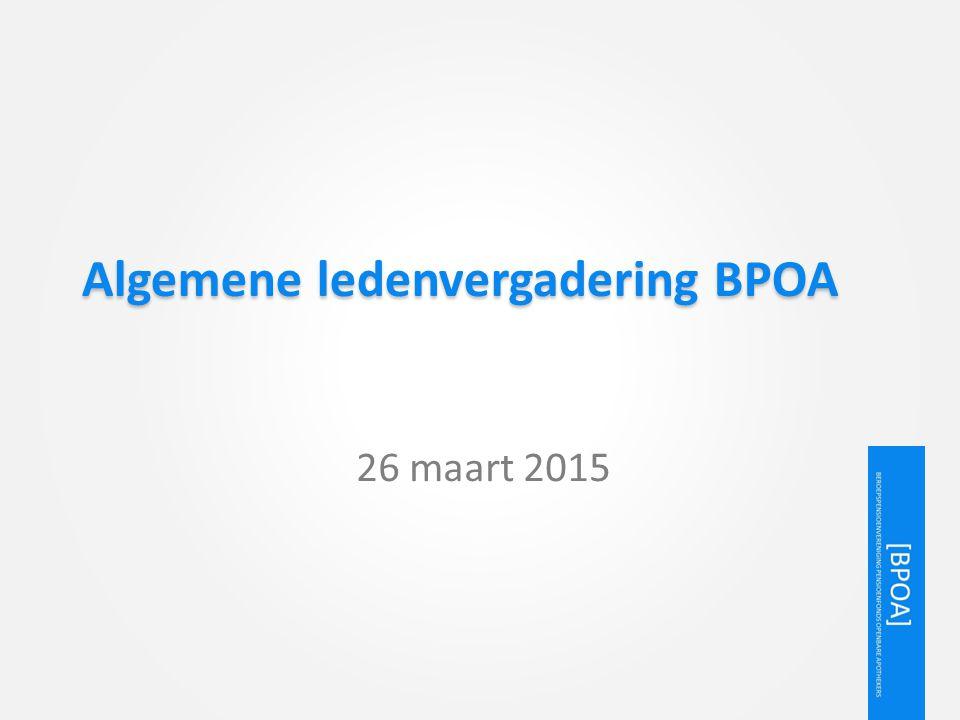 Agenda 1.Opening 2.Mededelingen 3.Benoeming bestuursleden SPOA 4.Statutenwijziging 5.Pensioenregeling openbare apothekers 2015 6.Blik op de toekomst 7.Rondvraag en sluiting