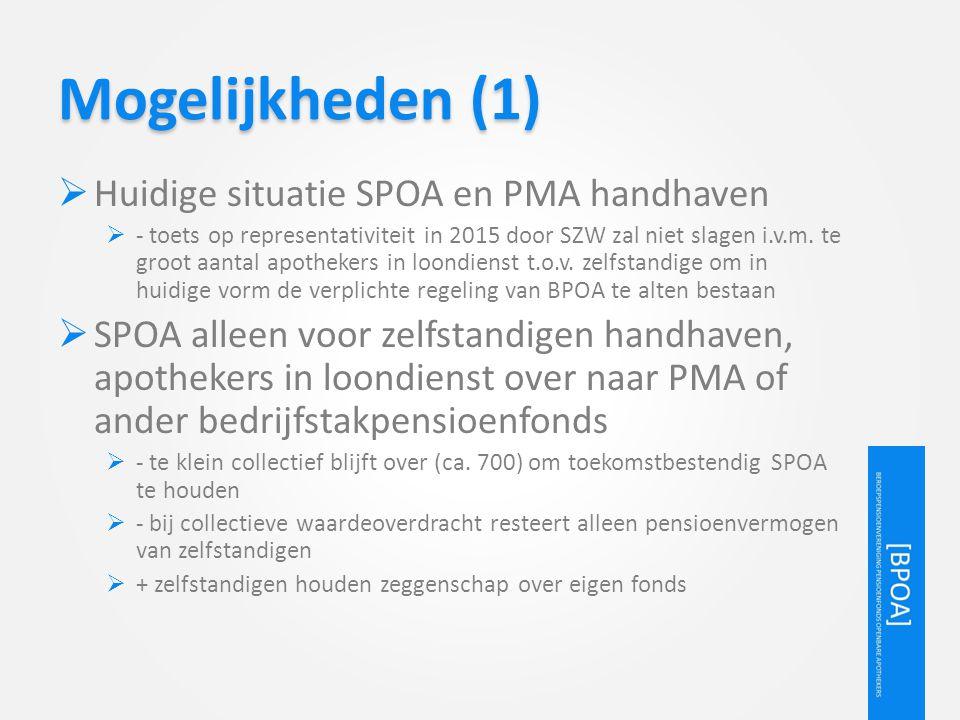 Mogelijkheden (1)  Huidige situatie SPOA en PMA handhaven  - toets op representativiteit in 2015 door SZW zal niet slagen i.v.m. te groot aantal apo