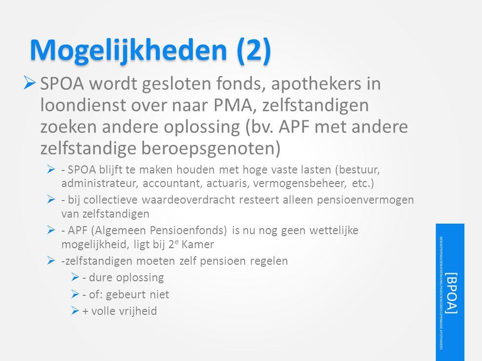 Mogelijkheden (2)  SPOA wordt gesloten fonds, apothekers in loondienst over naar PMA, zelfstandigen zoeken andere oplossing (bv. APF met andere zelfs
