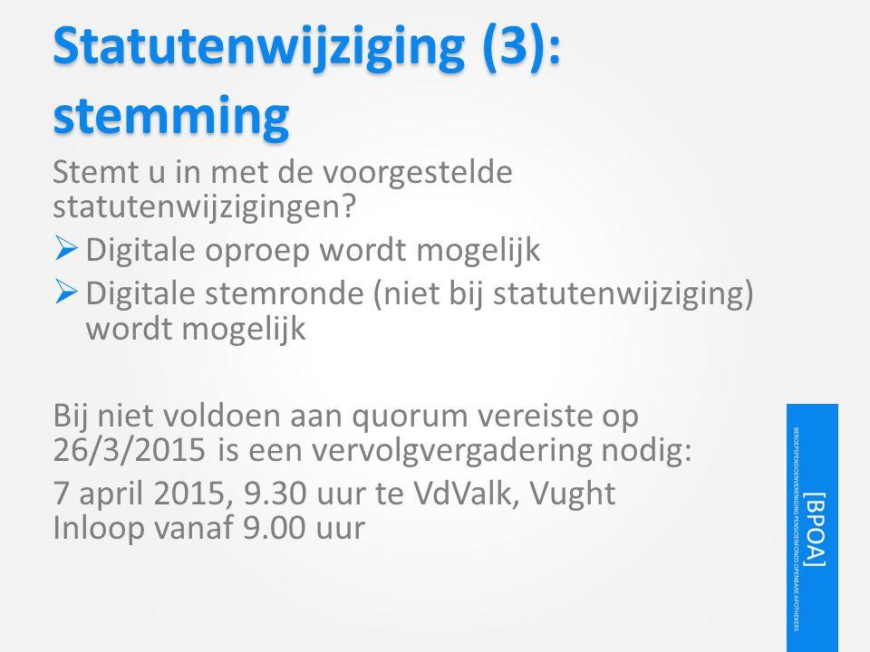 Statutenwijziging (3): stemming Stemt u in met de voorgestelde statutenwijzigingen?  Digitale oproep wordt mogelijk  Digitale stemronde (niet bij st