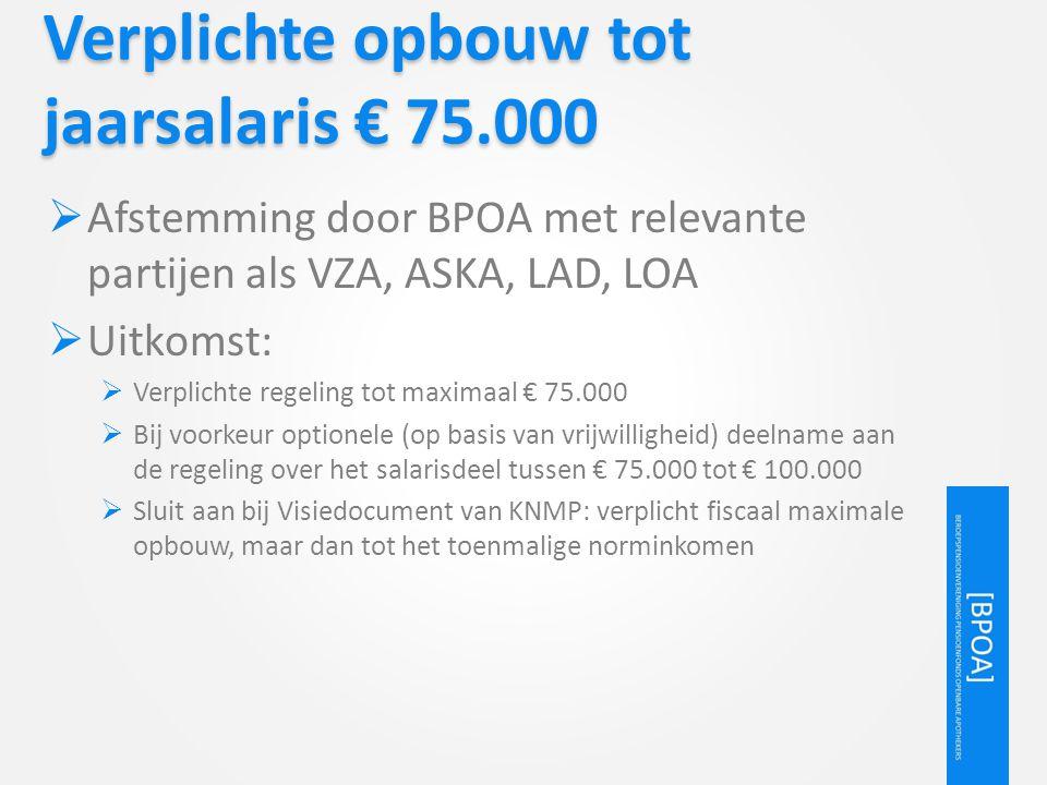 Verplichte opbouw tot jaarsalaris € 75.000  Afstemming door BPOA met relevante partijen als VZA, ASKA, LAD, LOA  Uitkomst:  Verplichte regeling tot