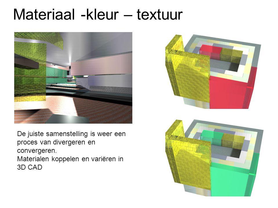 Materiaal -kleur – textuur Voorbeeld KitCar ontwerp Faleon Lichte kleur laat de auto groter lijken Kleur gekoppeld aan positionering ontwerp Kleurcombinaties om de vorm te accentueren