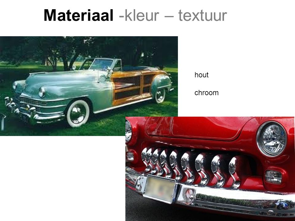 Materiaal -kleur – textuur Keuzes op functie en massa Zonnecellen in lak Textiel op frame gespannen Soft car